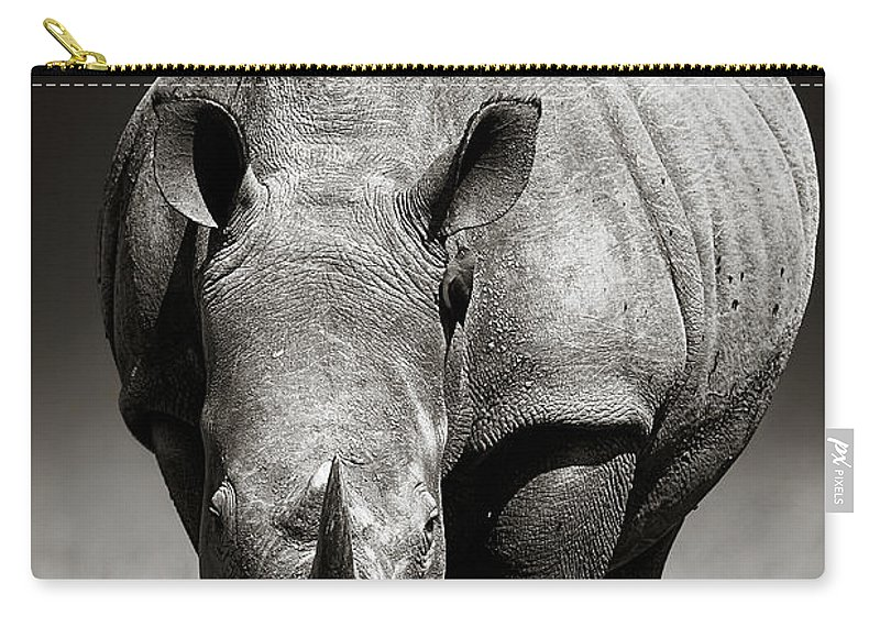 Rhinoceros Carry-all Pouch featuring the photograph White Rhinoceros In Due-tone by Johan Swanepoel