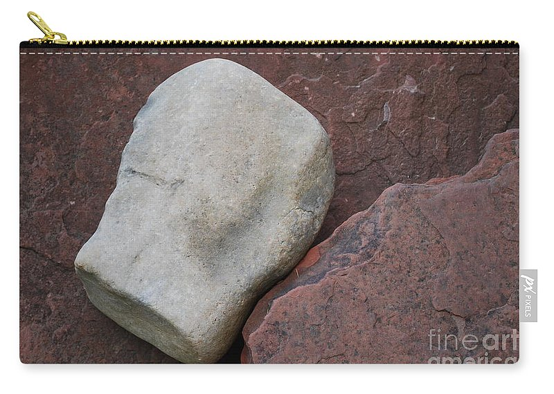 Color Carry-all Pouch featuring the photograph White Rock On Red Rock Number 1 by Heather Kirk