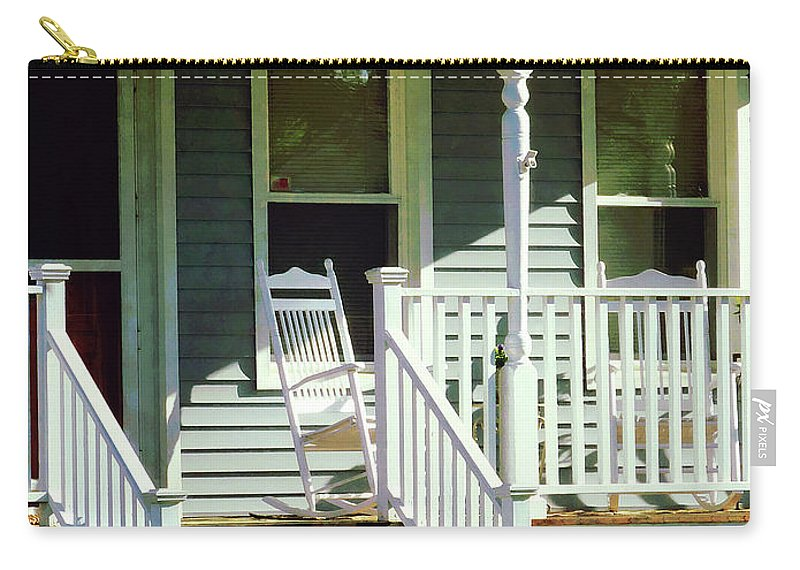 Porch Carry-all Pouch featuring the photograph White Rocking Chairs by Susan Savad