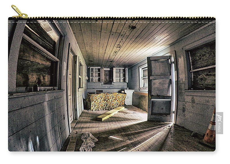 Dilapidated Carry-all Pouch featuring the photograph White Room, Yellow Couch, Real Estate Series by Aaron James