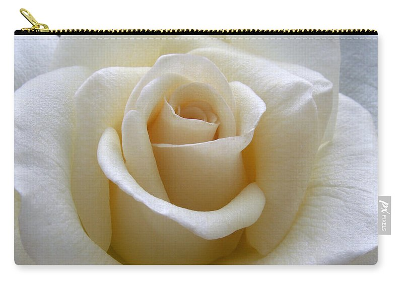 Roses Carry-all Pouch featuring the photograph White Rose by Amy Fose