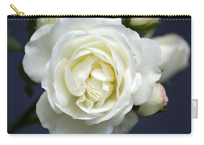 Rose Carry-all Pouch featuring the photograph White Rose Bloom by Christina Rollo