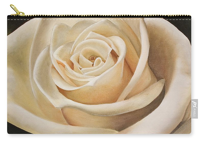 Flower Carry-all Pouch featuring the painting White Rose by Rob De Vries