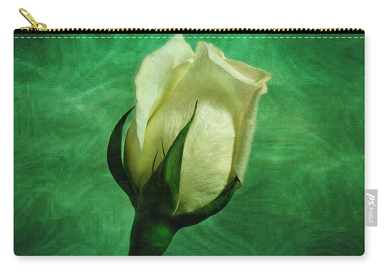 Roses Carry-all Pouch featuring the photograph White Rose by Sandy Keeton