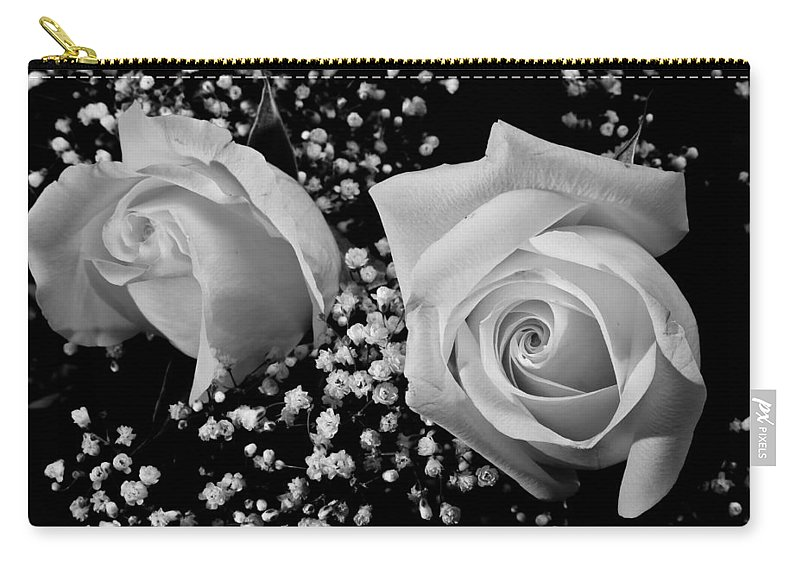 Flowers Carry-all Pouch featuring the photograph White Roses Bw Fine Art Photography Print by James BO Insogna