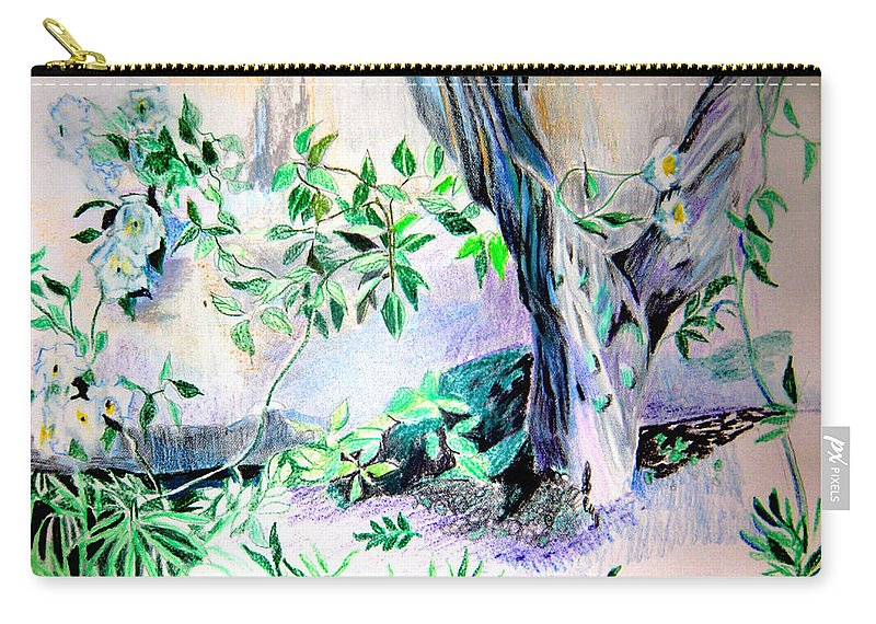 Tree Carry-all Pouch featuring the drawing White Roses by Mindy Newman