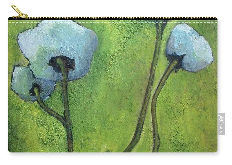 Abstract Carry-all Pouch featuring the painting White Roses by Vesna Antic