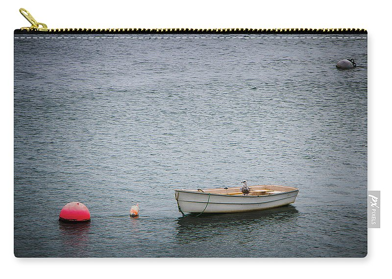 Boat Carry-all Pouch featuring the photograph White Rowboat And Seagull by Robert Anastasi