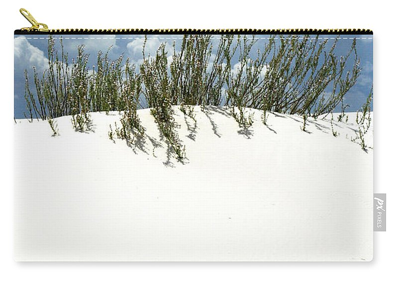 Sand Carry-all Pouch featuring the photograph White Sand Green Grass Blue Sky by Joe Kozlowski