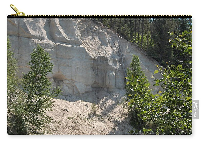 River Sand Cliffs Clear Water Evergreens Trees Natural Beauty Shore Piprell Lake Saskatchewan Carry-all Pouch featuring the photograph White Sands Cliff by Andrea Lawrence