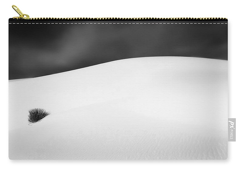 Minimalism Carry-all Pouch featuring the photograph White Sands Monochrome Minimalism by Jane Selverstone
