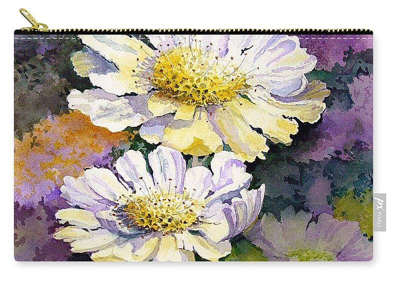 Flower Carry-all Pouch featuring the painting White Scabious by Sam Sidders