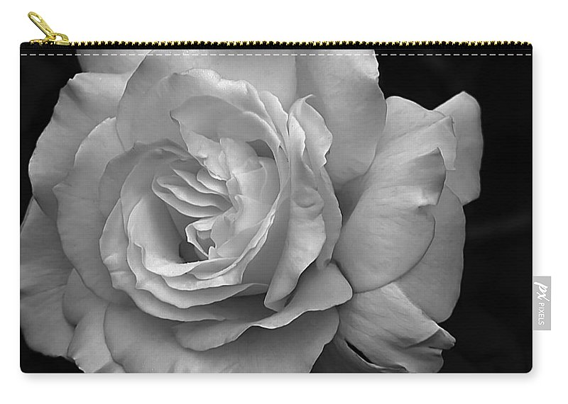 White Simplicity Carry-all Pouch featuring the photograph White Simplicity Rose Macro by Emerald Studio Photography