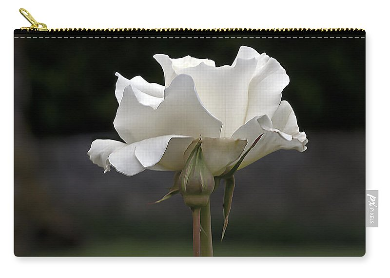 White Simplicity Carry-all Pouch featuring the photograph White Simplicity Rose Profile by Emerald Studio Photography