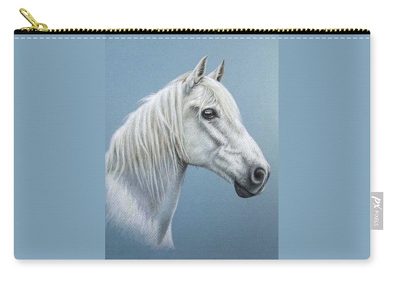 Horse Stallion White Pferd Portrait Animal Realism Pastel Carry-all Pouch featuring the pastel White Stallion by Nicole Zeug
