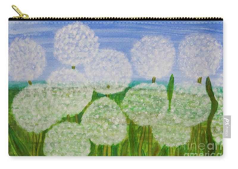 Dandelion Carry-all Pouch featuring the painting White Sunflowers, Painting by Irina Afonskaya