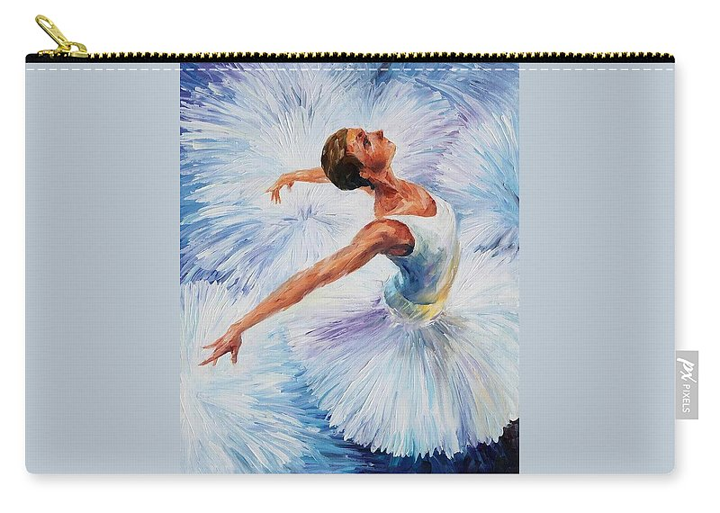 Afremov Carry-all Pouch featuring the painting White Swan by Leonid Afremov