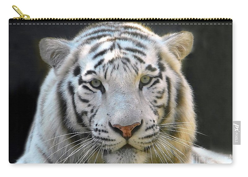 White Tiger Carry-all Pouch featuring the photograph White Tiger by David Lee Thompson