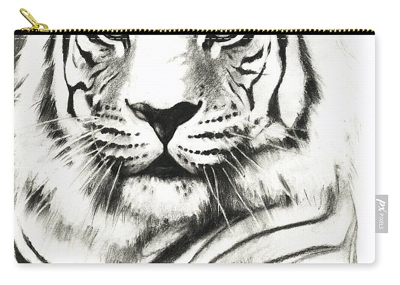 Lin Petershagen Carry-all Pouch featuring the drawing White Tiger Portrait by Lin Petershagen