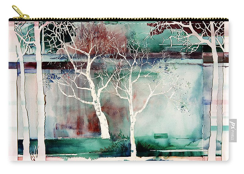 Trees Carry-all Pouch featuring the painting White Trees by Connie Williams