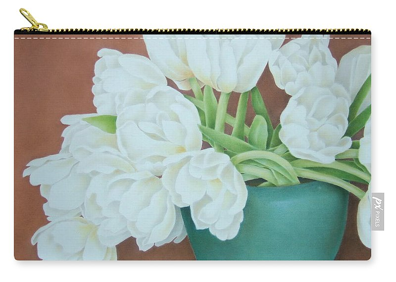 Still Life Carry-all Pouch featuring the painting White Tulilps In Blue Vase by Terri Meyers