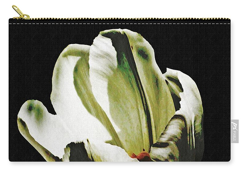 Tulip Carry-all Pouch featuring the photograph White Tulip by Sarah Loft