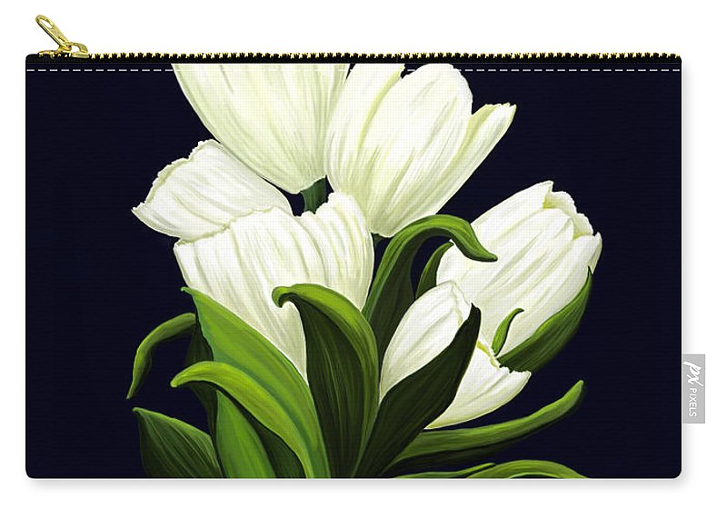 Mixed Media Carry-all Pouch featuring the painting White Tulips by Patricia Griffin Brett