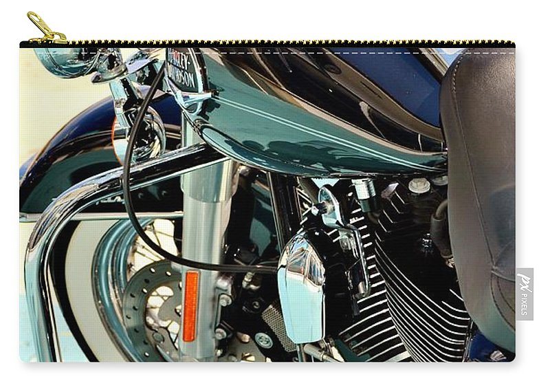 Harley Davidson Carry-all Pouch featuring the photograph White Wall Hog by Rene Triay Photography