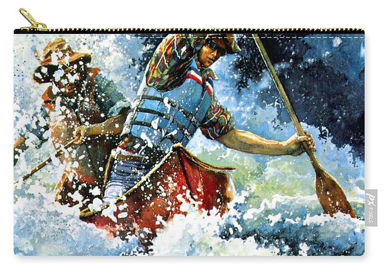 Sports Artist Carry-all Pouch featuring the painting White Water by Hanne Lore Koehler