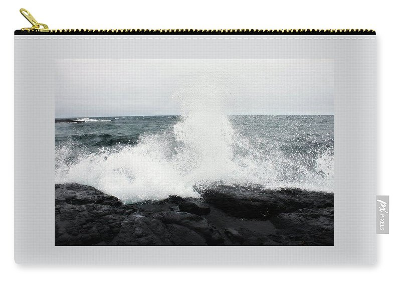 Waves Carry-all Pouch featuring the photograph White Waves Black Rocks by Kendall Tabor