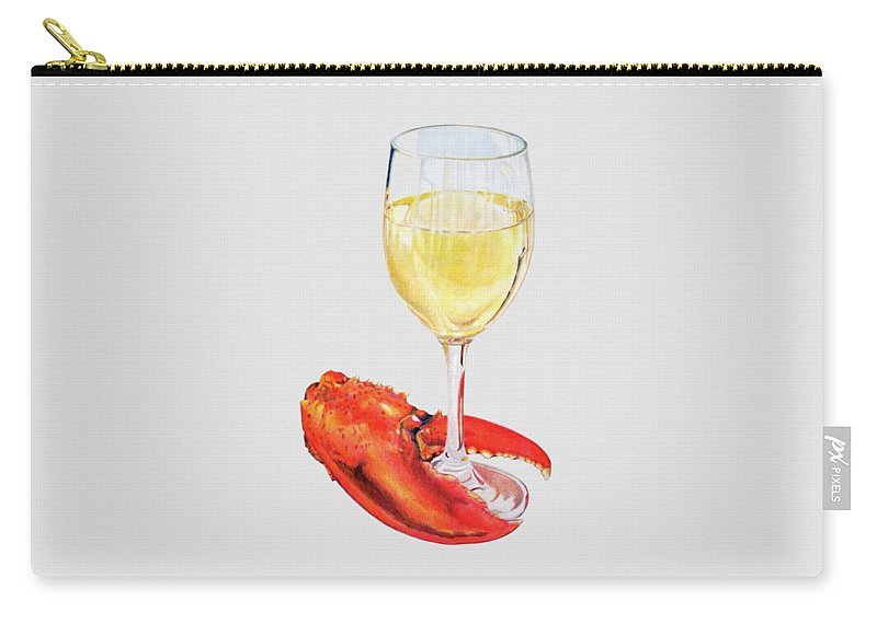 Lobster Carry-all Pouch featuring the painting White Wine And Lobster Claw by Dominic White