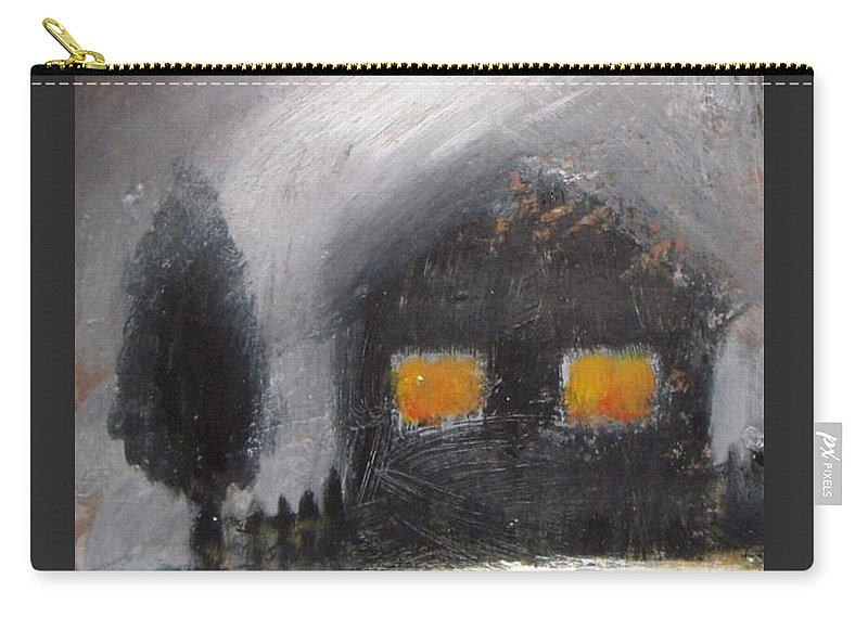 Winter Carry-all Pouch featuring the painting White Winter Night by Vesna Antic