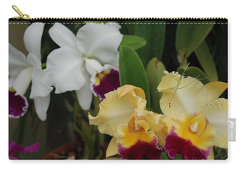 Macro Carry-all Pouch featuring the photograph White Yellow Orchids by Rob Hans