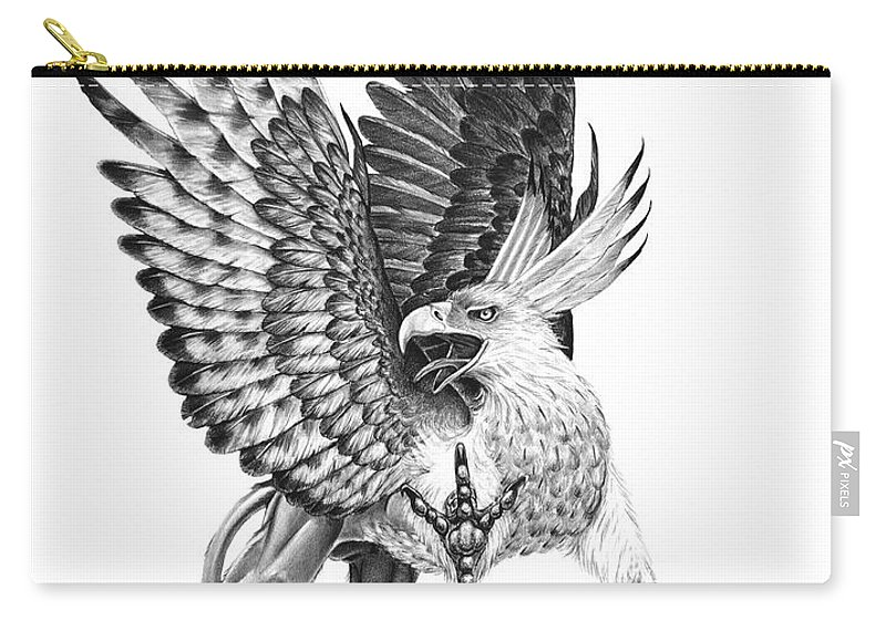 Mythology Carry-all Pouch featuring the drawing Whitehead Griffin by Melissa A Benson