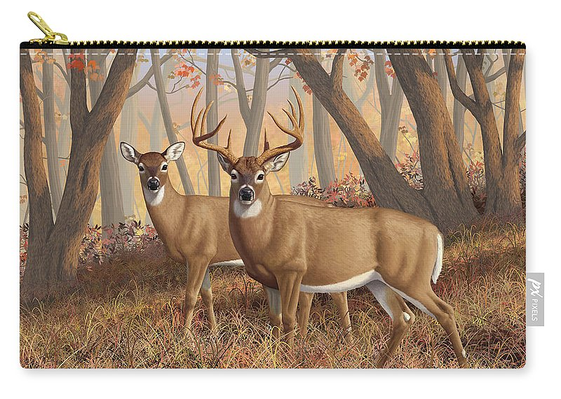 Deers Carry-all Pouch featuring the digital art Whitetail Deer Painting - Fall Flame by Crista Forest