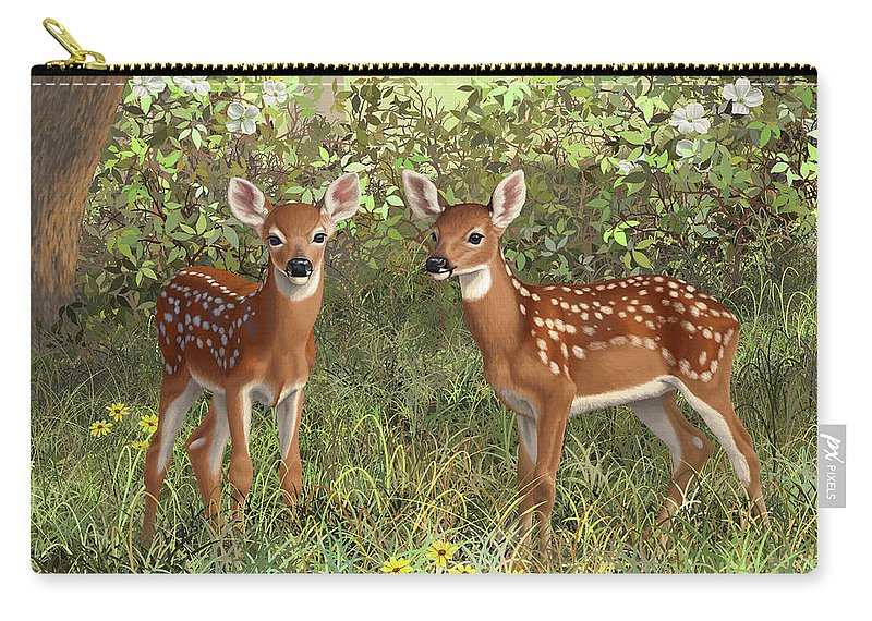 Whitetail Deer Carry-all Pouch featuring the painting Whitetail Deer Twin Fawns by Crista Forest