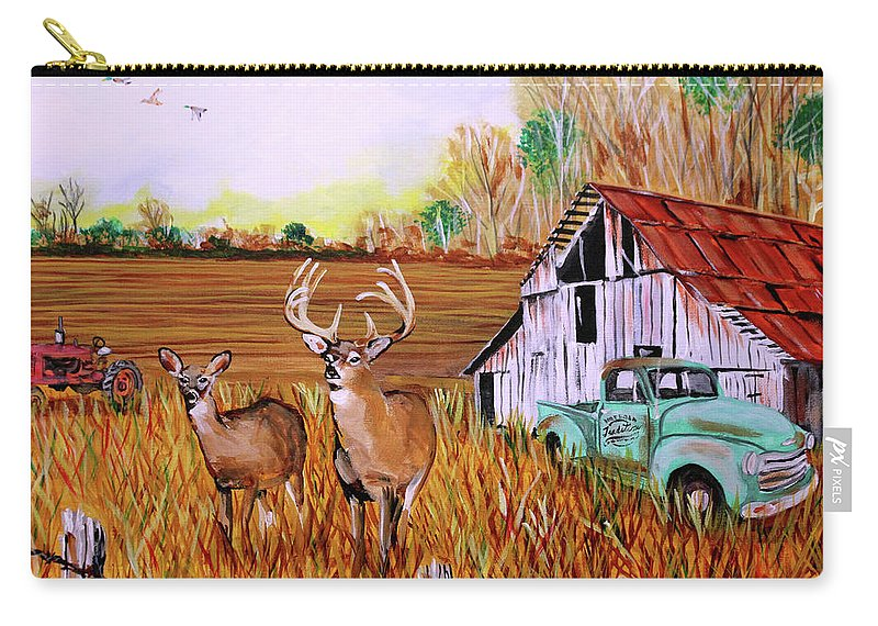 Whitetail Deer Carry-all Pouch featuring the painting Whitetail Deer With Truck And Barn by Karl Wagner