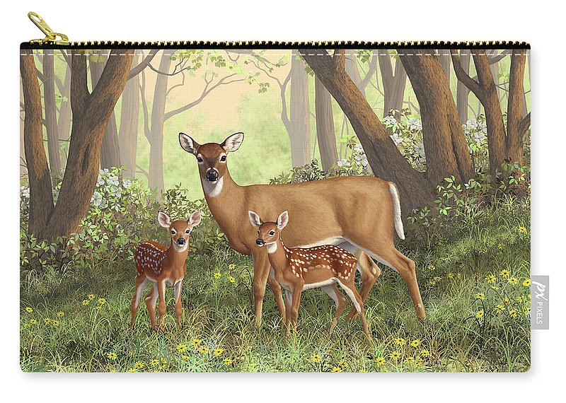 Whitetail Deer Carry-all Pouch featuring the painting Whitetail Doe And Fawns - Mom's Little Spring Blossoms by Crista Forest