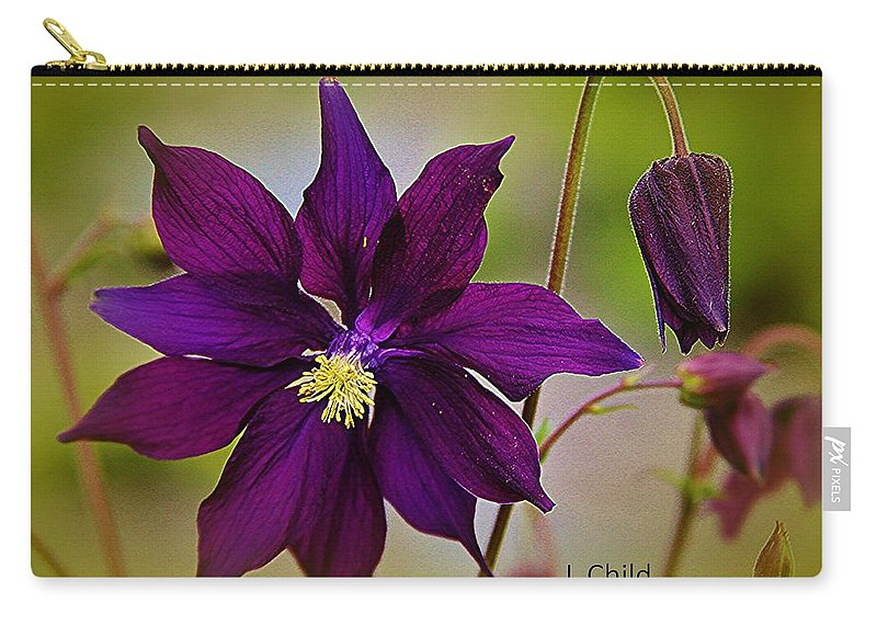 Purple Flower Carry-all Pouch featuring the photograph Who Am I by Lori Mahaffey