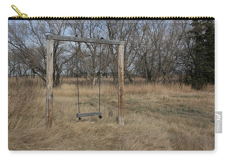 Swing Old Farm Grass Abandoned Trees Playgorund Lost Empty Lonely Carry-all Pouch featuring the photograph Who Played Here by Andrea Lawrence
