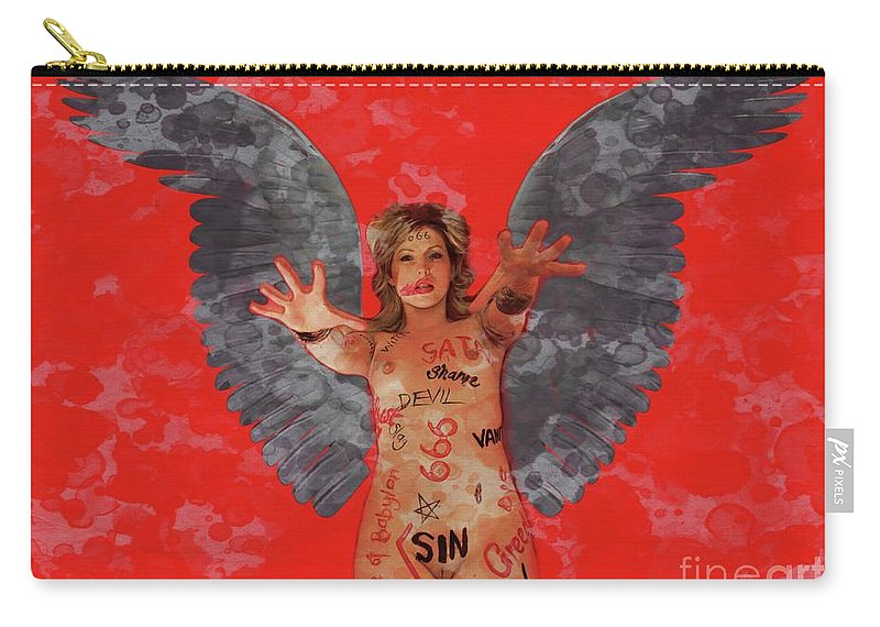 Vampire Carry-all Pouch featuring the digital art Whore Of Babylon By Mb by Mary Bassett