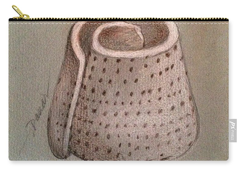 Shell Carry-all Pouch featuring the photograph Whorl - Shell With Polka Dot Pattern - Sketch by Miriam Danar
