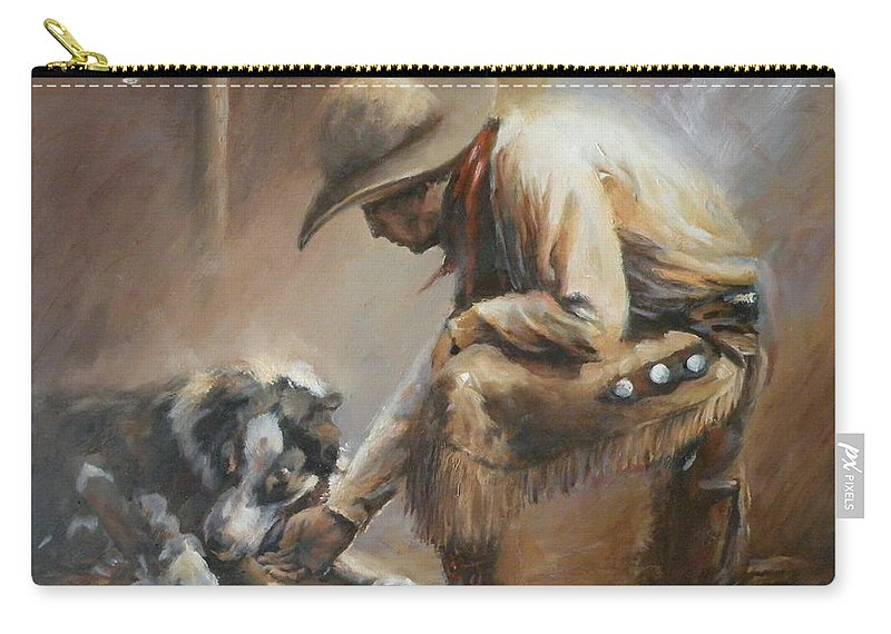 Cowboys Carry-all Pouch featuring the painting Who's Your Daddy by Mia DeLode