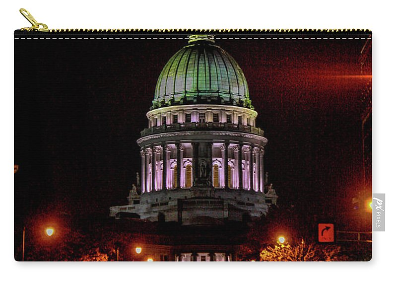 Madison Carry-all Pouch featuring the photograph Wi State Capitol From West Washington Ave by Tommy Anderson