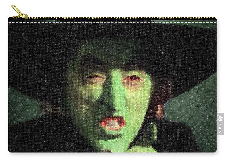 Wicked Witch Of The East Carry-all Pouch featuring the painting Wicked Witch Of The East by Zapista Zapista