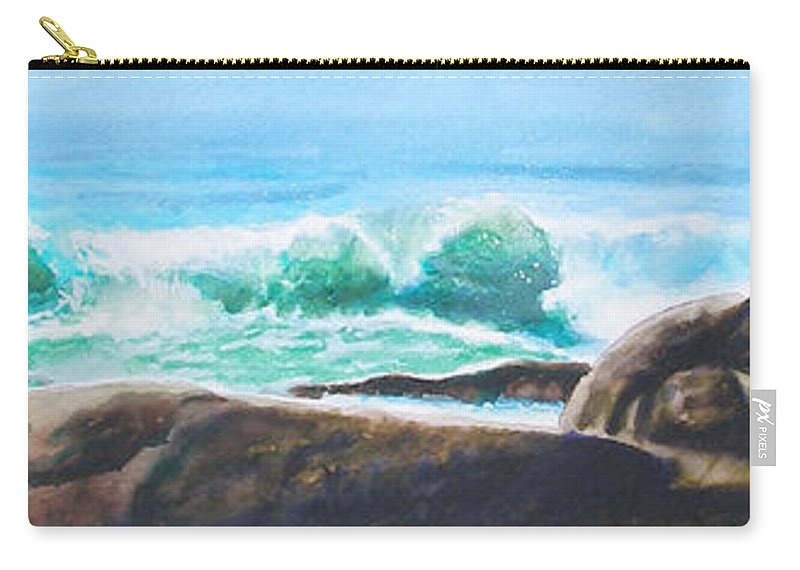 Seascape Carry-all Pouch featuring the painting Widescreen wave by Ken Meyer jr