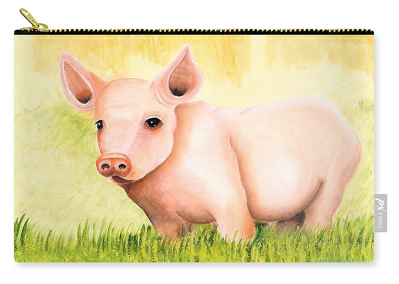 Pig Carry-all Pouch featuring the painting Wilber by Terry Lewey