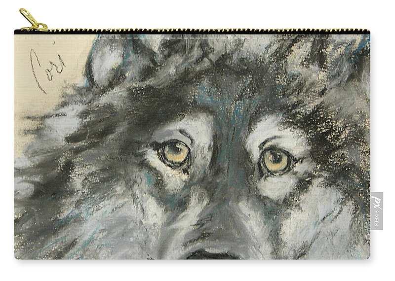 Wolf Carry-all Pouch featuring the drawing Wild At Heart by Cori Solomon