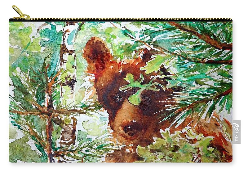 Watercolor Carry-all Pouch featuring the painting Wild Bear Peek-a-boo Watercolour by CheyAnne Sexton