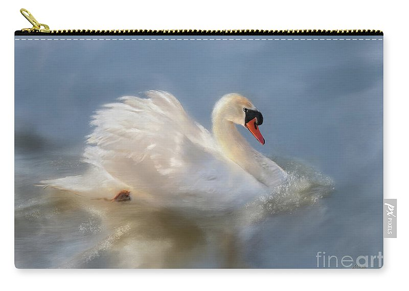 Swan Carry-all Pouch featuring the digital art Wild Beauty Painted by Lois Bryan